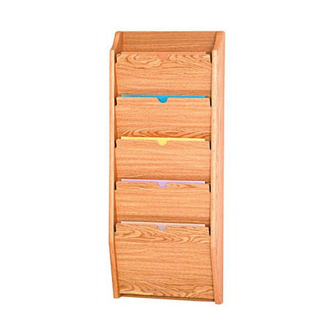 5 Pocket Wall Mounting Privacy File Holder - Light Oak