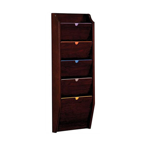 5 Pocket Wall Mounting Privacy File Holder - Mahogany