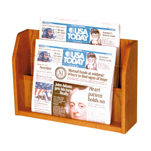 2-Newspaper Oak Table Top Display
