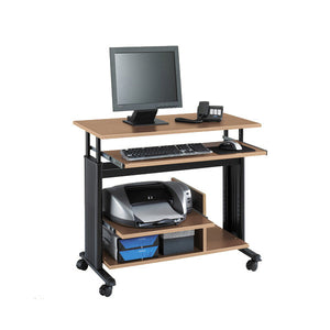 Mini-Tower Adjustable Height Computer Desk Station - Medium Oak