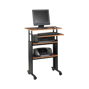 Adjustable Stand Up Computer Desk - Cherry / Black