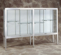 "60"" W Glass Trophy Case - Satin Frame / White Laminate Backing"