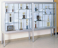 "144"" W Glass Trophy Case - Satin Frame / White Laminate Backing"