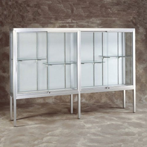 "96"" W Glass Trophy Case - Satin Frame / Hook and Loop Backing"