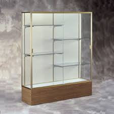 "72"" W Display Case - White Back / Bronze Frame / Walnut Base"
