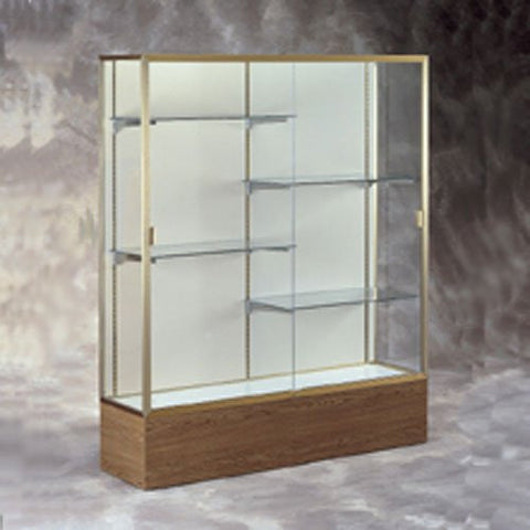 "72"" W Display Case - White Back / Gold Frame / Walnut Base"