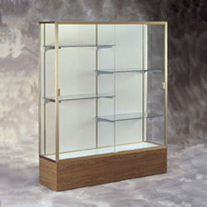 "72"" W Display Case - White Back / Satin Frame / Walnut Base"