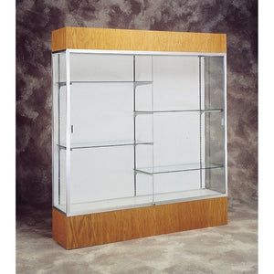 "72"" W Display Case - White Back / Satin Frame / Light Oak"