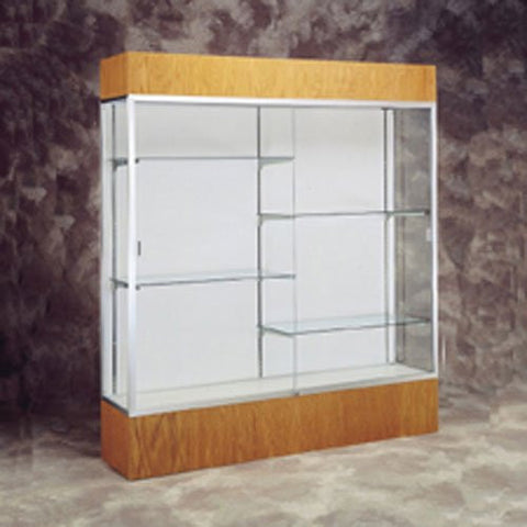 "72"" W Display Case - White Back / Gold Frame / Light Oak"
