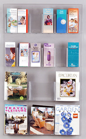 Combination 12-Brochure & 6-Magazine Clear Wall Display