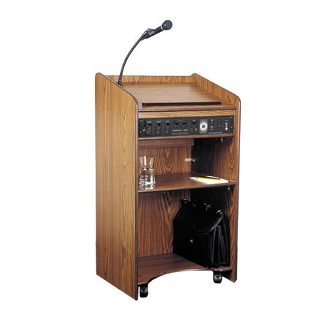 The Aristocrat - Lectern with Built-In Multimedia Sound System, Amp, 2 Mics, & Speakers