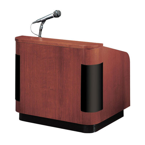 Grandiose Veneer Lectern with Built-In Multimedia Sound System, Amp, 2 Mics, & Speakers
