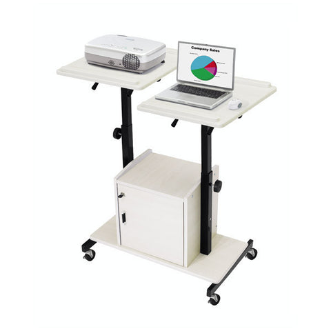 Dual-Surface Adjustable Presentation Cart with Locking Storage Box