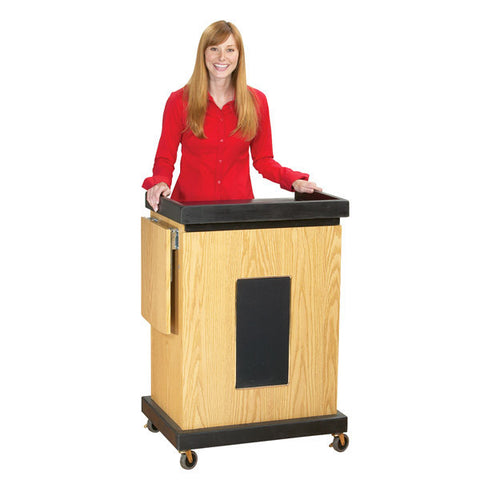 Multimedia Smart Cart Lectern with Built-In Amp, 2 Mics, and Speakers