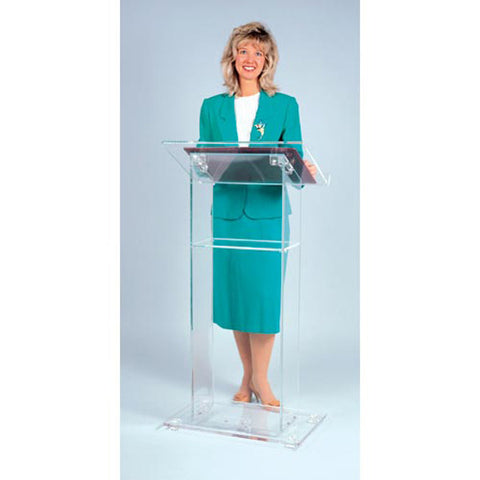 Rectangular & Clear Plexiglas Podium with Inner Shelf