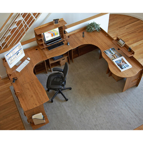 "47"" x 47"" Bamboo Home Corner Desk - No Tools Assembly"