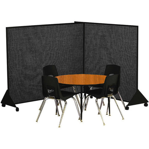Mobile Flannel Classroom Dividers - 4' H - Black