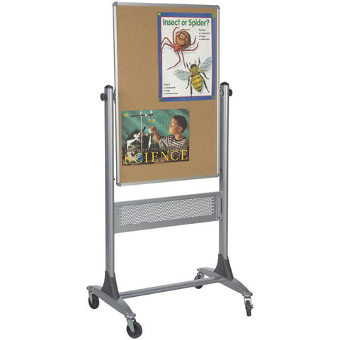 "Platinum Frame Reversible Mobile Whiteboard and Corkboard - 40"" x 30"""