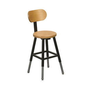 Height Adjustable Stool with Wood Seat and Back, Black Metal Frame