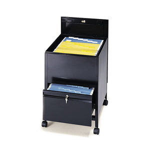 Legal-Sized Locking Tub File Cart with Drawer - Black