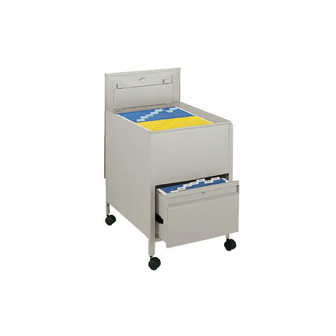 Legal-Sized Locking Tub File Cart with Drawer - Putty