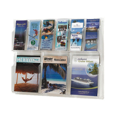 Combination 6-Brochure & 3-Magazine Clear Wall Display