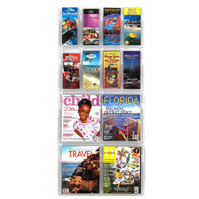 Combination 8-Brochure & 4-Magazine Vertical Wall Display