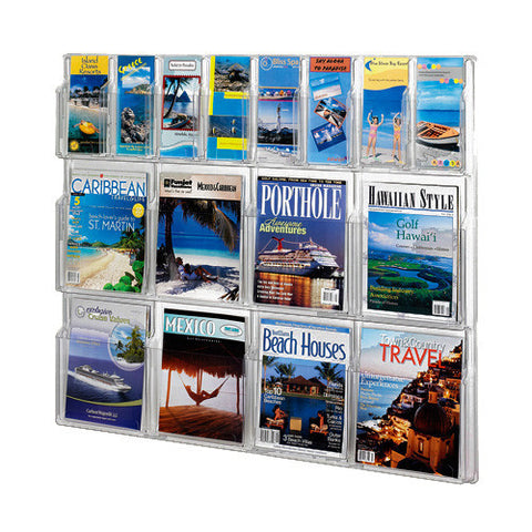 Combination 8-Magazine & 8-Brochure Horizontal Clear Wall Display