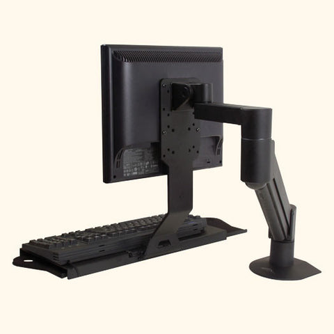 LCD Data Entry Arm with Flip-Up Keyboard Tray - for Wall, Pole, or Desk Mount