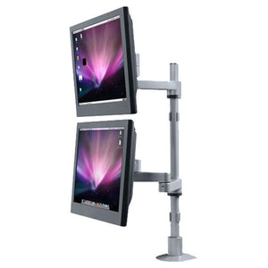 Articulating Dual Monitor Arms and Mounting Pole, for Wall Mount or Desk Mount
