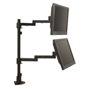 Long-Reach Articulating Dual Monitor Arms and Mounting Pole, for Wall or Desk Mount