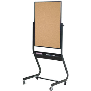 "Euro Frame Reversible Mobile Cork Board and Projection Board - 40"" x 30"""