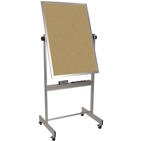 "Deluxe Reversible Mobile White Board / Cork Board with Aluminum Frame - 40"" x 30"""
