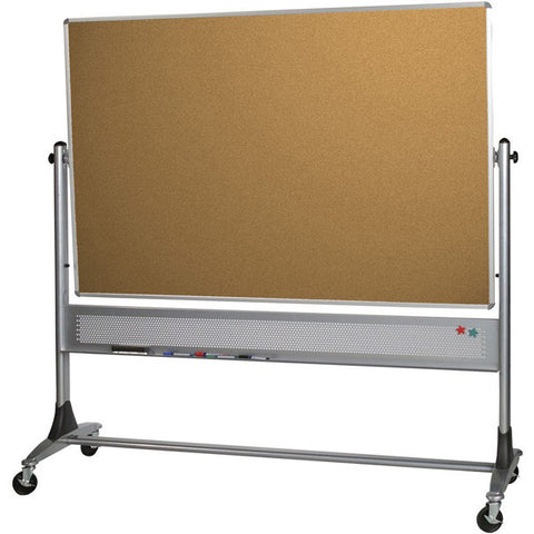 Platinum Frame Reversible Mobile Whiteboard and Corkboard - 4' x 6'