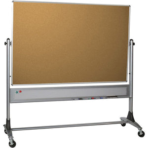 Platinum Frame Reversible Mobile Corkboard and Projector Board - 4' x 6'
