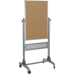 "Platinum Frame Reversible Mobile Corkboard and Projector Board - 40"" x 30"""