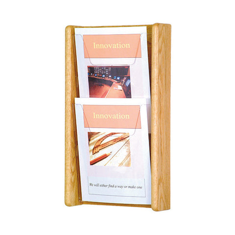2-Magazine Vertical Oak Wall Display