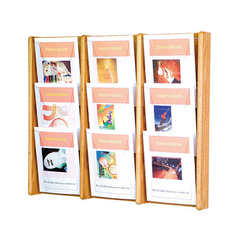 9-Magazine Cascading Oak Wall Display