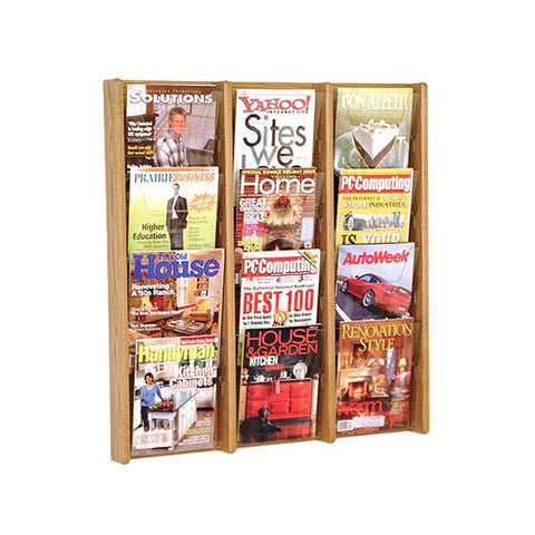 12-Magazine Cascading Oak Wall Display
