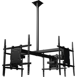 "Ceiling mounted Quad display system for 37"" to 65""+ monitors includes a Universal mounting interface"