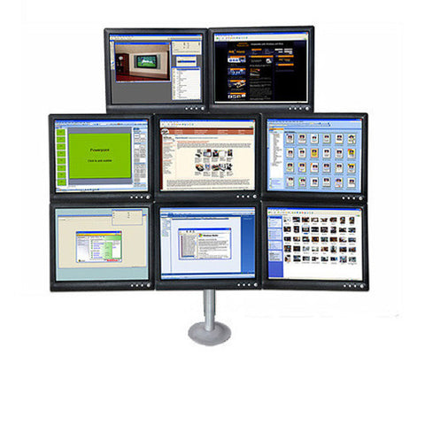 Eight Monitor LCD Desk Grommet Mount for 8 Monitors, 3x3x2