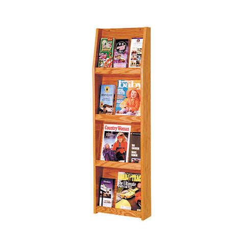 4 Open Shelves Oak Literature Wall Display