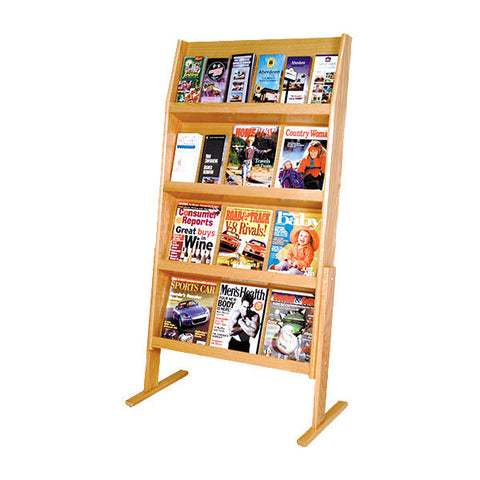 12-Magazine Hardwood Literature Display Rack