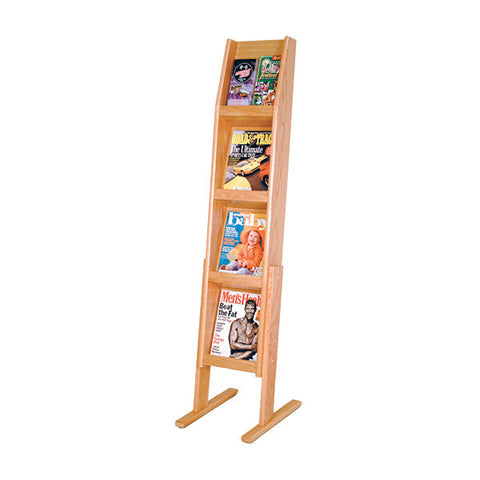 4-Magazine or 8-Brochure Oak Literature Display Rack