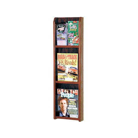 3-Magazine or 6-Brochure Oak Wall Display