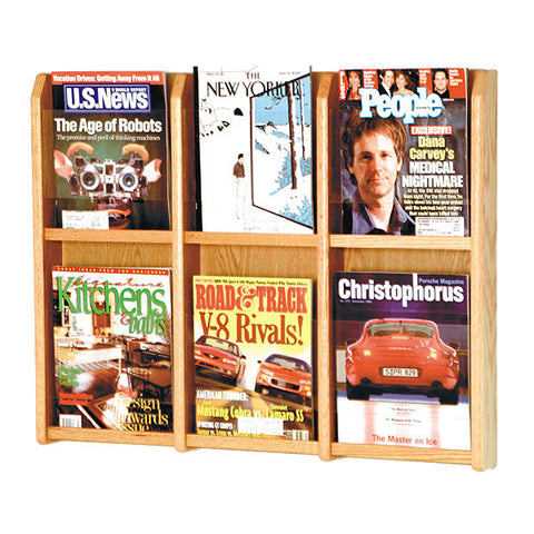 6-Magazine Oak Wall Display