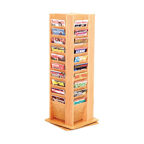 40-Magazine Rotating Oak Display with Floor Stand