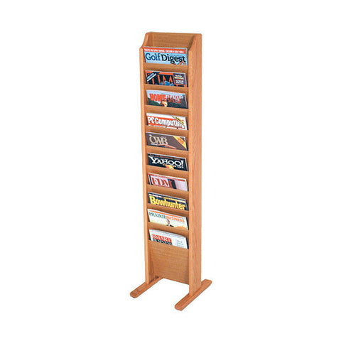 10-Magazine Oak Floor Rack