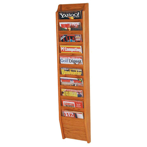 10-Magazine Cascading Oak Wall Rack