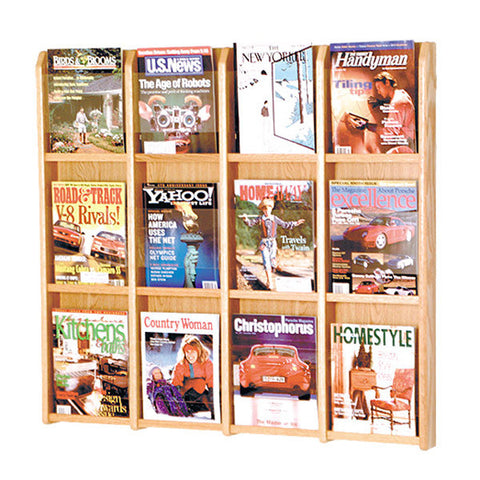 12-Magazine Oak Wall Display